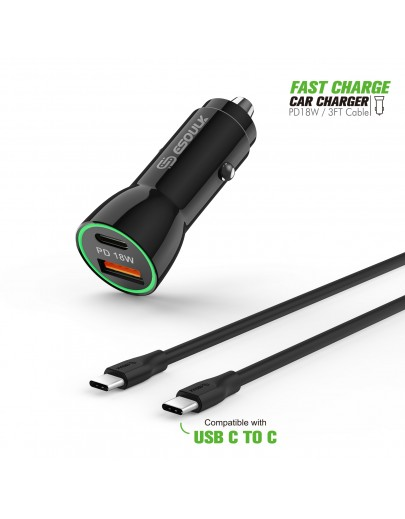 EC09P-CC-BK:18W Car Charger PD & USB-A with 3ft C to C cable Black
