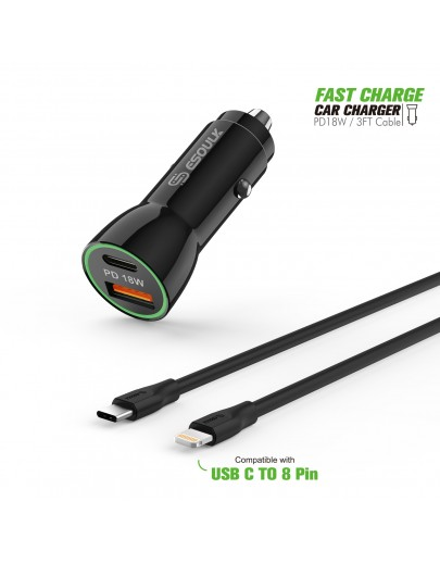 EC09P-CL-BK:18W Car Charger PD & USB-A With 3ft C to IPhone Cable For iPhone 12/11