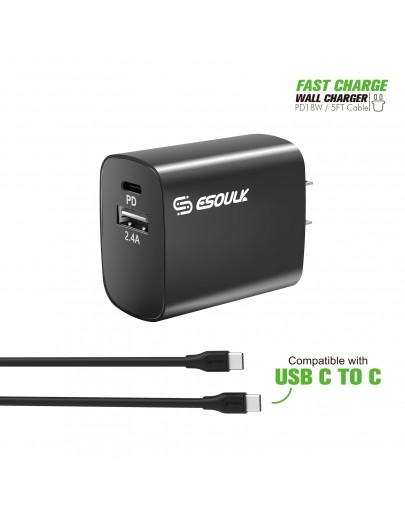 EC10P-CC-BK:18W Wall Charger PD & USB-A with 5ft C to C cable Black