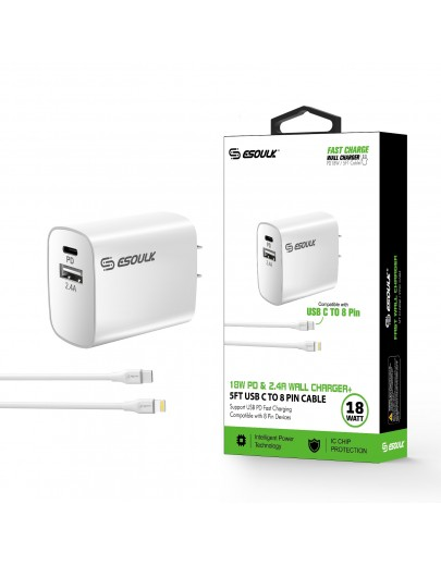 EC10P-CL-WH:18W Wall Charger PD & USB-A with 5ft C to iPhone cable For iPhone 12/11