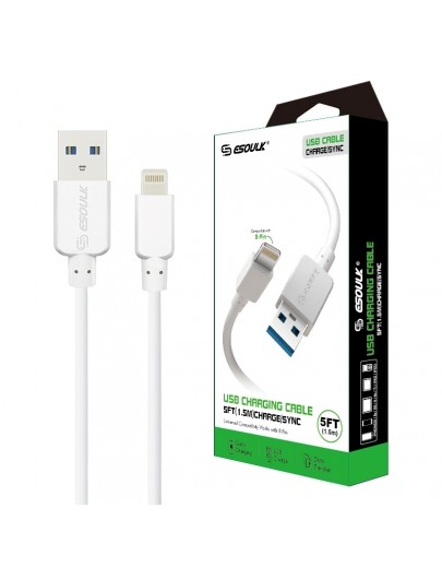 EC30P-IP-WH Esoulk 5ft  Faster Speed Charging Cable For IOS-White