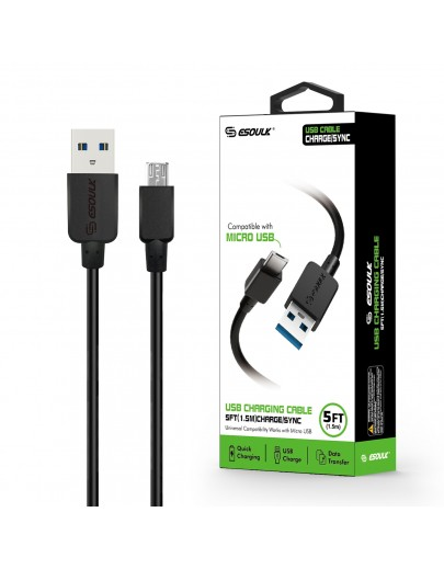 EC30P-MU-BK: Esoulk 5ft  Faster Speed Charging Cable For Micro USB-Black