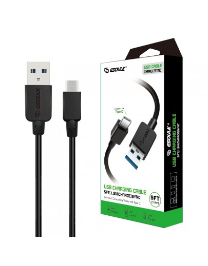 EC30P-TPC-Black: Esoulk 5ft  Faster Speed Charging Cable For Type-C Black