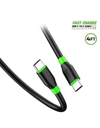 EC33P-CC-BK:4ft/1.2m USB C To C Cable TPE Material Black