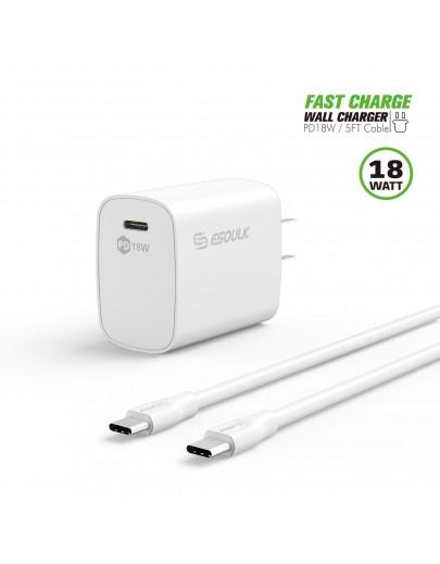 EC35P-CC-WH:18W PD Fast Charger Wall & 5FT C to C Cable White