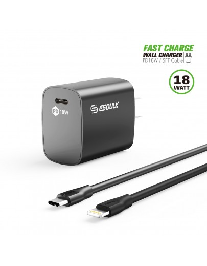 EC35P-CL-BK:18W PD Fast Charger Wall  & 5FT C to 8Pin Cable For iPhone 12/11