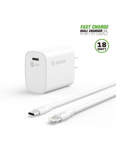 EC35P-CL-WH:18W PD Fast Charger Wall  & 5FT C to 8Pin Cable White