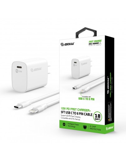 EC35P-CL-WH:18W PD Fast Charger Wall  & 5FT C to 8Pin Cable For iPhone 12/11