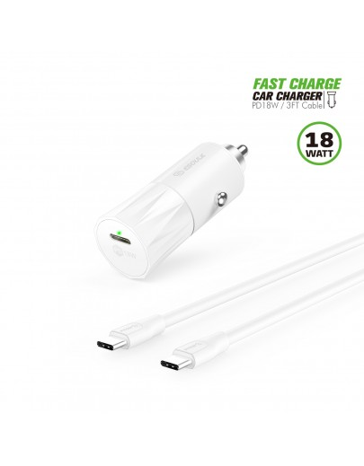 EC36P-CC-WH:18W PD Fast Charger Car & 3FT C to C Cable