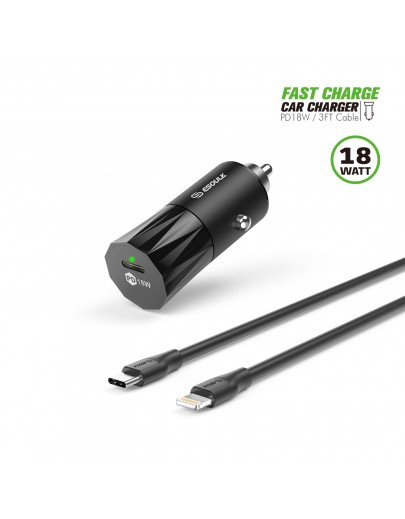 EC36P-CL-BK:18W PD Fast Charger Car & 3FT C to 8Pin Cable For iPhone 12/11