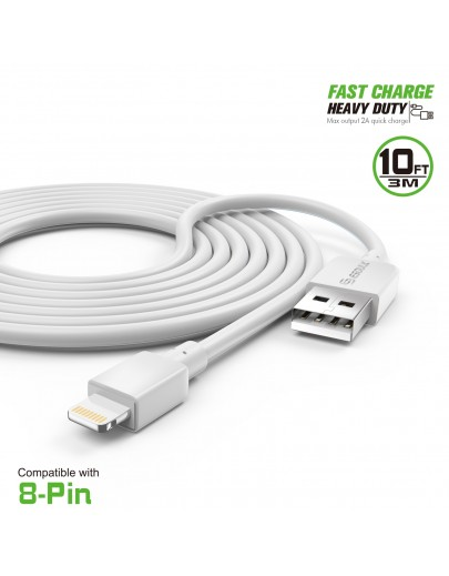 EC38P-IP-WH: 10FT Heavy Duty USB Cable 2A For iPhone White