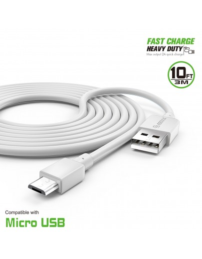 EC38P-MU-WH : 10FT Heavy Duty USB Cable 2A For Mirco USB White