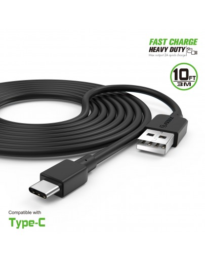 EC38P-TPC-BK: 10FT Heavy Duty USB Cable 2A For Type-C Black