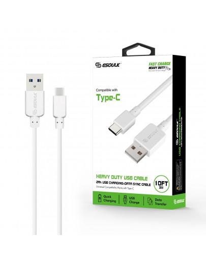 EC38P-TPC-WH: Esoulk 2A Heavy Duty USB Cable 3M (10ft)White