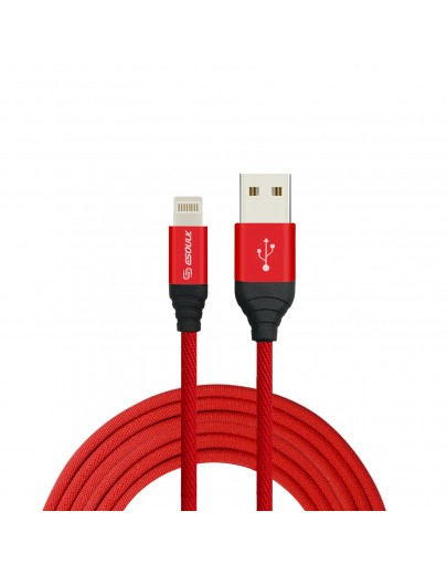 EC40P-IOS-Red Esoulk 2A Heavy Duty Braided USB Cable 2M (6.6ft)