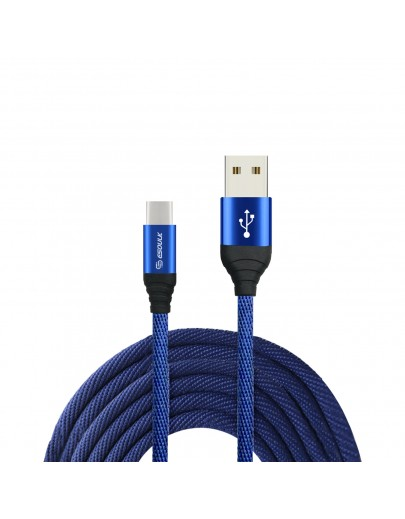EC40P-TPC-Blue Esoulk 2A Heavy Duty Braided USB Cable 2M (6.6ft)