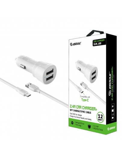EC43P-TPC-WH Esoulk 12W 2.4A Dual USB Travel Car charger with 5FT Type-C Charging Cable