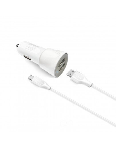 EC43P-TPC-White Esoulk 12W 2.4A Dual USB Travel Car charger with 5FT Type-C Charging Cable