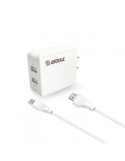 EC44P-IP-WH Esoulk 12W 2.4A Dual USB Travel Wall charger With 5FT Charging Cable for iPhone XS MAX/XS/XR/X/8/7