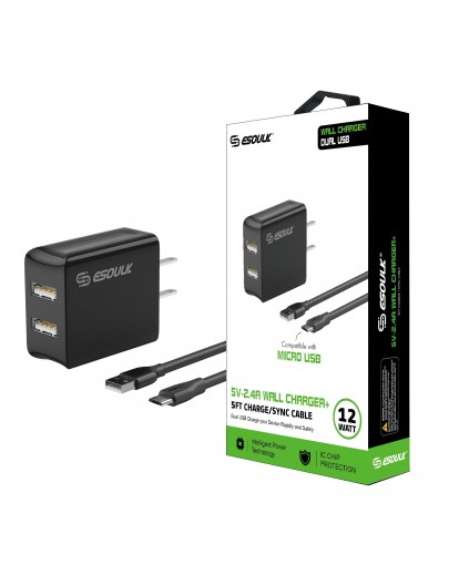 EC44P-MU-BK Esoulk 12W 2.4A Dual USB Travel Wall charger With 5FT  Micro USB Charging Cable