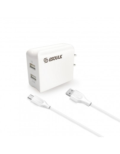 EC44P-TPC-White Esoulk 12W 2.4A Dual USB Travel Wall charger With 5FT Type-C Charging Cable