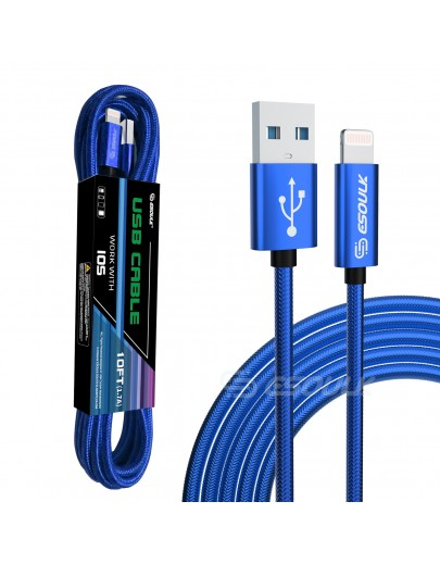 EC45L-IP-BU: Esoulk 10FT USB Cable For iPhone XS/XR/XS MAX 1.7A-Blue