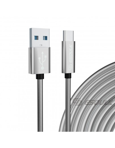 EC45L-TPC-SV: Esoulk 10FT USB Cable For Type-C 1.7A-Silver
