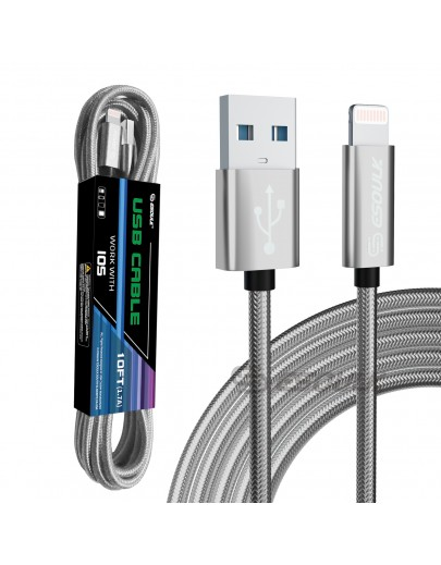 EC45L-IP-SV: Esoulk 10FT USB Cable For iPhone XS/XR/XS MAX 1.7A-Silver