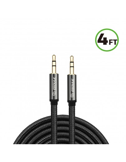 EC46-AX-BK: 4FT NYLON BRAIDED AUX CABLE