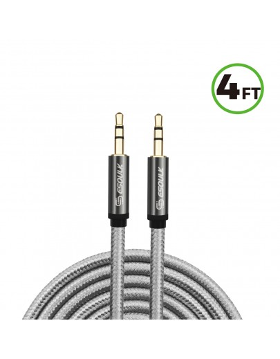 EC46-AX-SV:4FT NYLON BRAIDED AUX CABLE