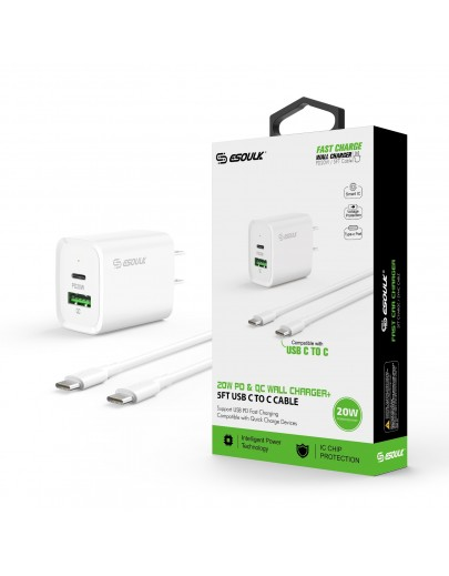 EC49-CC-WH: 20W PD+QC FAST WALL CHARGER & 5FT USB C TO C CABLE