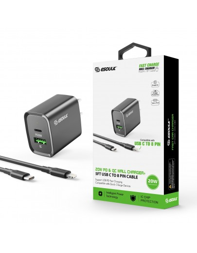 EC49-CL-BK: 20W PD+QC FAST WALL CHARGER & 5FT USB C TO 8PIN CABLE