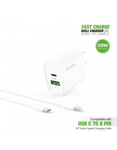 EC49-CL-WH: 20W PD+QC FAST WALL CHARGER & 5FT USB C TO 8PIN CABLE