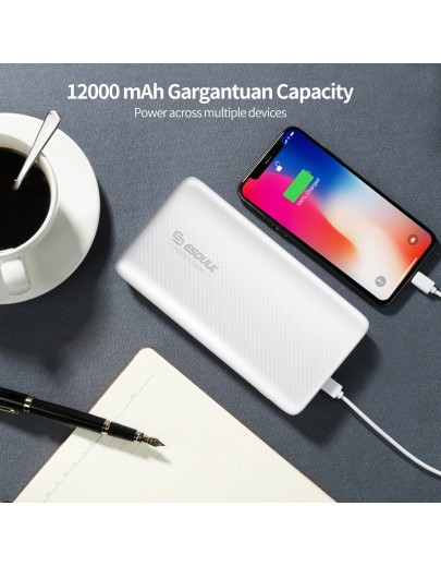 EP03P-WH: 36W 12000mAh  PD & Fast Charger Power Bank White