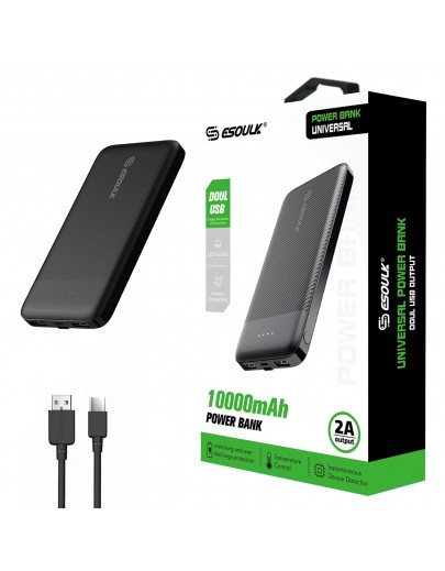 EP06P-BK:10000mAh 2A Output &Doul USB Power Bank Black