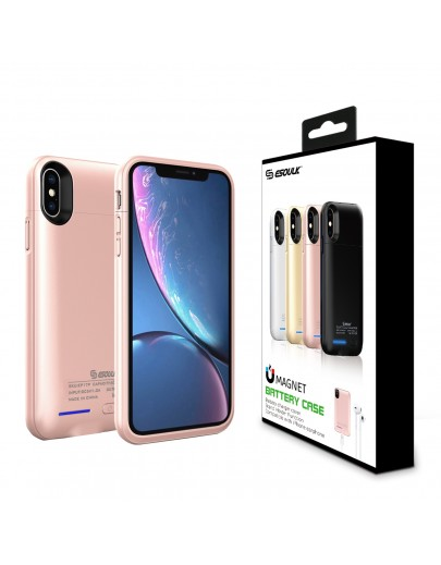 EP17P-XSMAX-RG:Esoulk Magnet Porwer Case For IPhone XS MAX 5000mAh (Compatible With Iphone Earphone )
