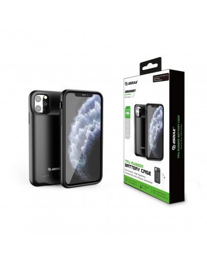 EP23-11PM-BK:4500 mAh TPU Rubber Battery Case Compatible Headset For iPhone 11 Pro Max Black