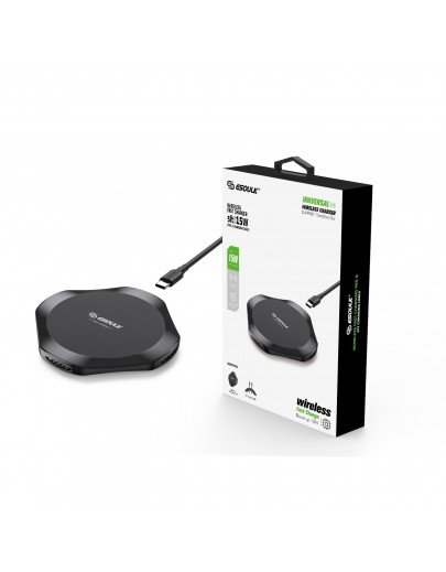 EW05BK: 15W UNIVERSAL WIRELESS CHARGER & 5FT TYPE-C CHARGING CABLE