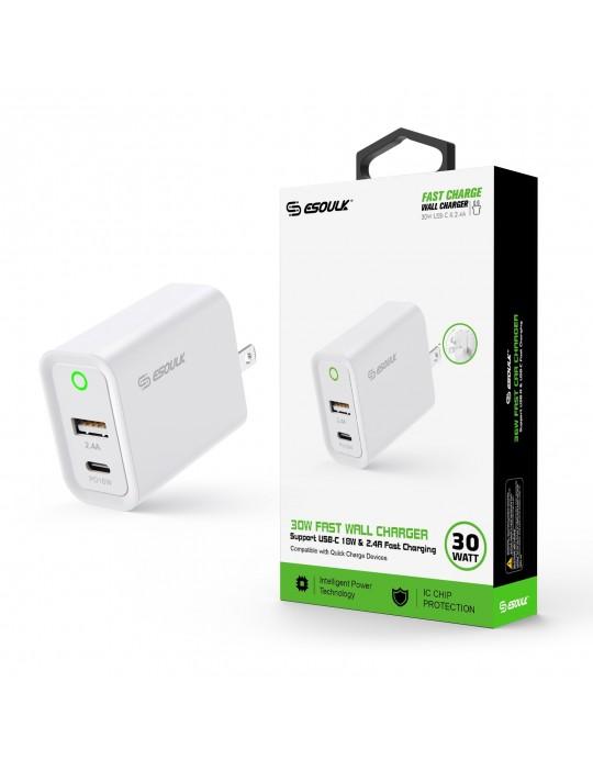 EA16-WH: 30W Wall Adapater 18W PD USB-C + 2.4A USB A