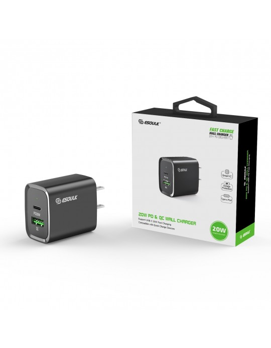 EA20-BK: 20W PD+QC FAST WALL CHARGER