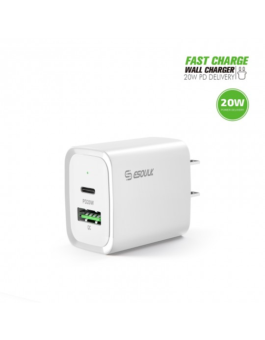 EA20-WH: 20W PD+QC FAST WALL CHARGER