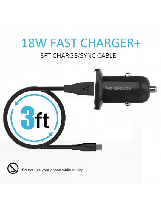 EC05P-TPC-BK:18W QC3.0 Car Charger & 3ft Cable For Type-C Black