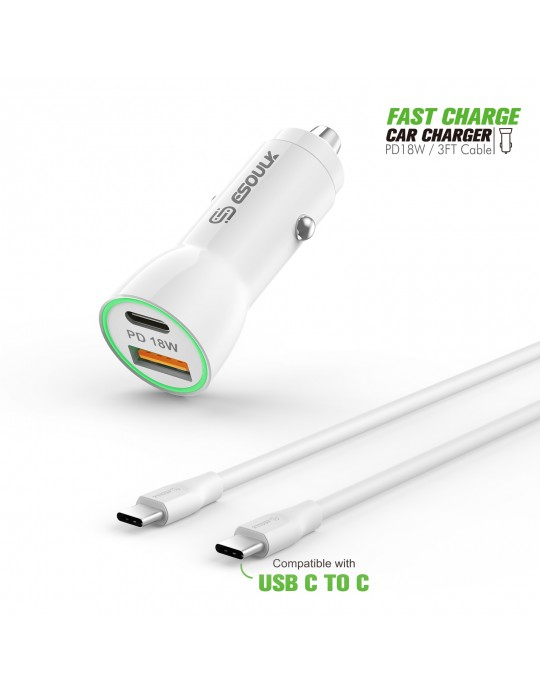 EC09P-CC-WH:18W Car Charger PD & USB-A with 3ft C to C cable White