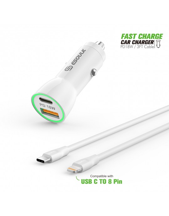 EC09P-CL-WH:18W Car Charger PD & USB-A With 3ft C to IPhone Cable White