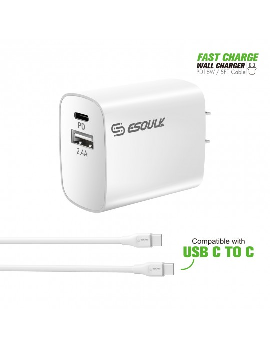 EC10P-CC-WH:18W Wall Charger PD & USB-A with 5ft C to C cable White