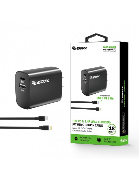 EC10P-CL-BK:18W Wall Charger PD & USB-A with 5ft C to iPhone cable Black