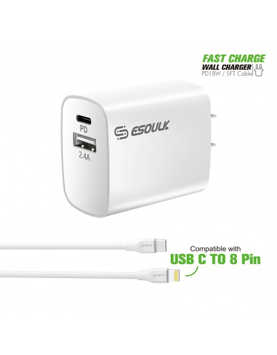 EC10P-CL-WH:18W Wall Charger PD & USB-A with 5ft C to iPhone cable White