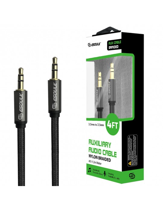 EC32P-AUX-BK:Esoulk 4ft 3.5mm Auxiliary Audio Braided  Cable Black