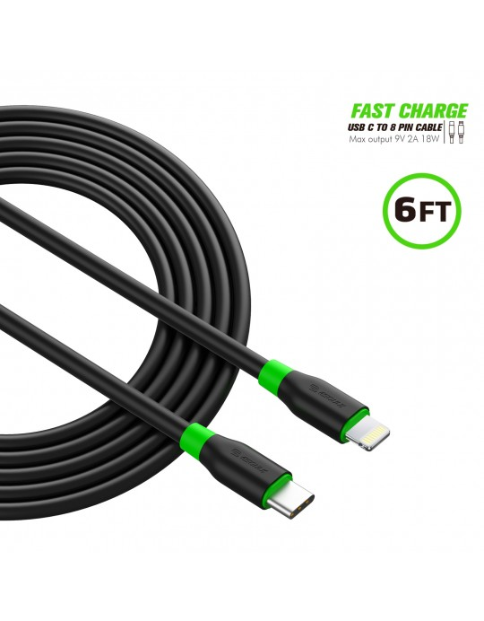 EC34P-CL-BK:6FT PD Fast Charge USB-C To iPhone Cable Black