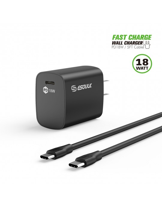 EC35P-CC-BK:18W PD Fast Charger Wall & 5FT C to C Cable
